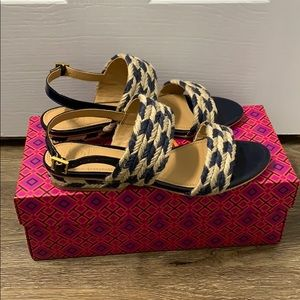 Tory Burch Lola Slingback Sandals Perfect Navy